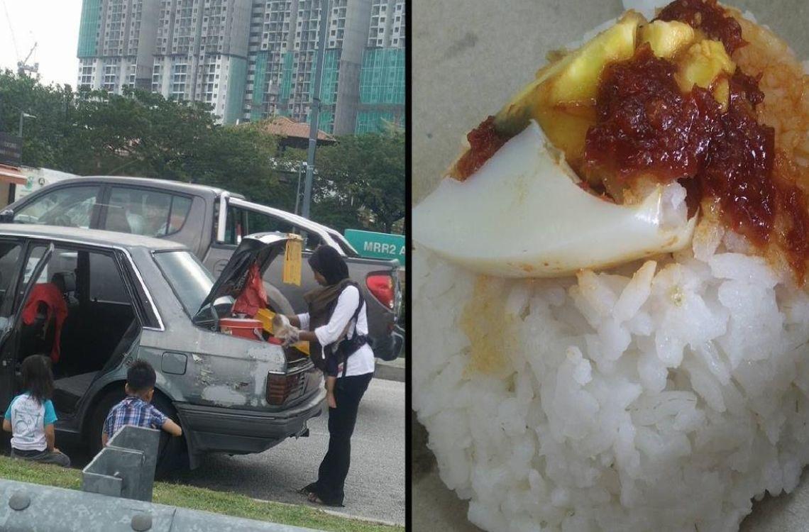 mother and nasi lemak