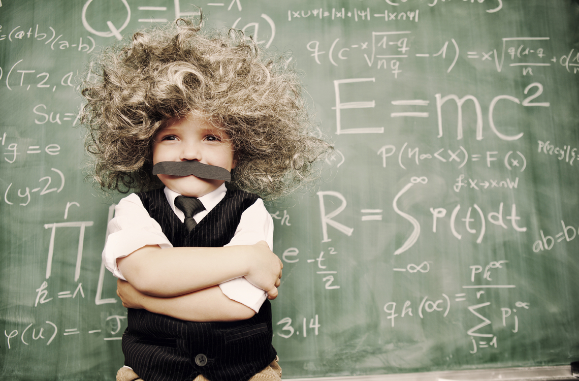 Young kid dressed as Albert Einstein