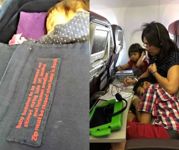 (Left) You can request for a baby bassinet when you fly and you will get bigger leg room too! However, this is very limited, so do your check-ins earlier. (Right) Painting together is fun! (Image Credit: Jo-Ann)