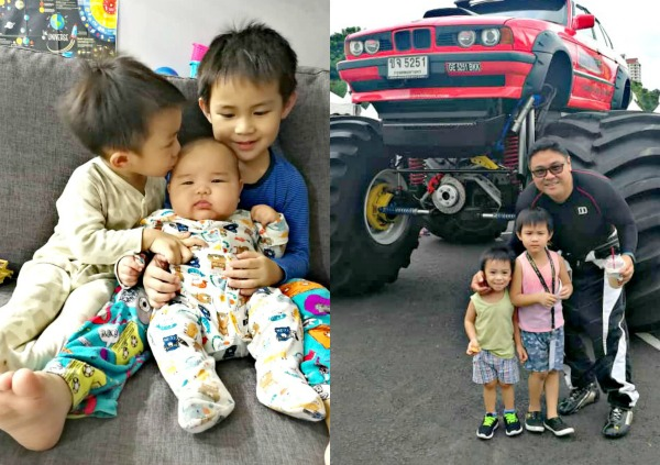(Left) Dylan, the youngest, is only a year old. He is surrounded by his brothers Lucas and Isaac. (Right) The boys with their father on their day out.