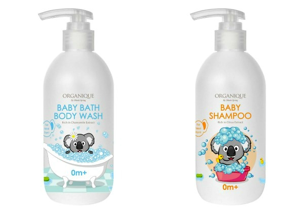 (Left) A gentle body wash perfect for baby's skin, the organic chamomile extract helps moisturise and soften the skin. Soap and sulfate free, Organique's Baby Bath and Body Wash is suitable for sensitive and irritated skin. (Right) The baby shampoo's added ingredients prevent baby's scalp from becoming dry and flaky, minimising cradle cap. The citrus extract brings natural highlights, leaving baby's hair soft and shiny.