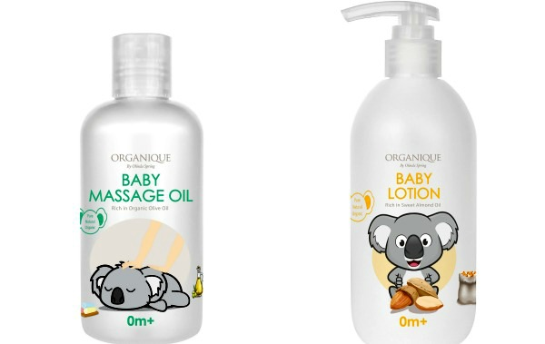 (Left) Enriched with organic olive oil, Organique's baby massage oil softens baby's skin, while helping to soothe and relax baby. (Right) The extra gentle baby lotion features sweet almond oil which helps protect baby's skin from dryness, roughness or flaky patches. Can be used on both face and body.