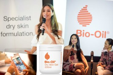 (Clockwise) First-of-its-kind Bio-Oil Dry Skin Gel Launch was hosted by former Beauty Queen Nadia Heng, Sarah Lian and Atilia Haron, Bio-Oil Dry Skin Gel, and guests testing out the product.