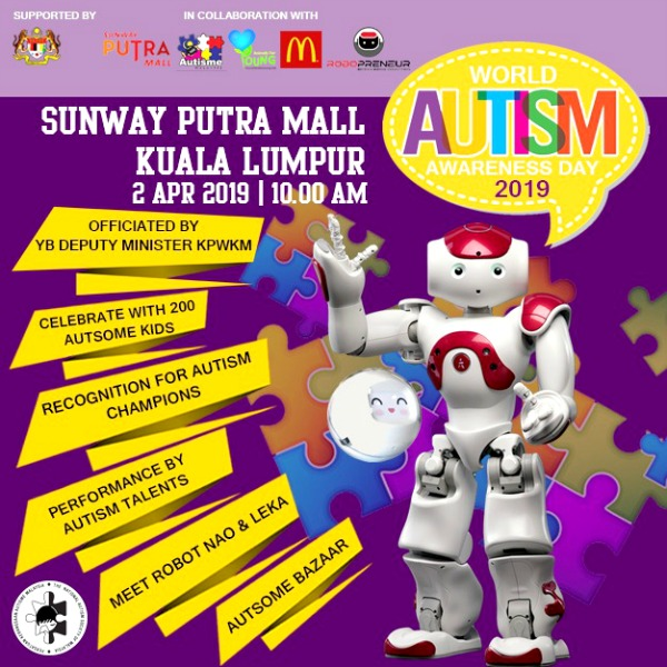 This Tuesday, come along to Sunway Putra Mall to celebrate World Autism Awareness Day with 200 autistic children. Come watch their amazing talents and visit the Autsome Bazaar that showcase drawings and goods made by autistic individuals.