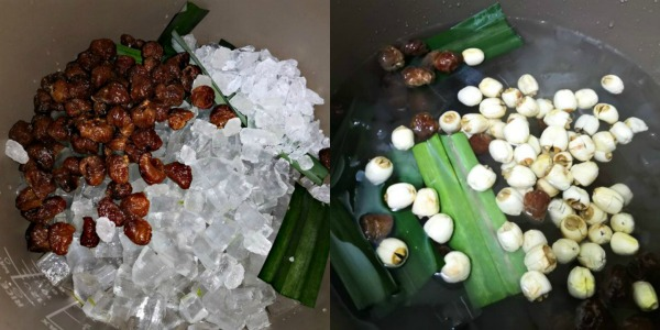 Longan and Lotus Seeds are preboiled to soften them.