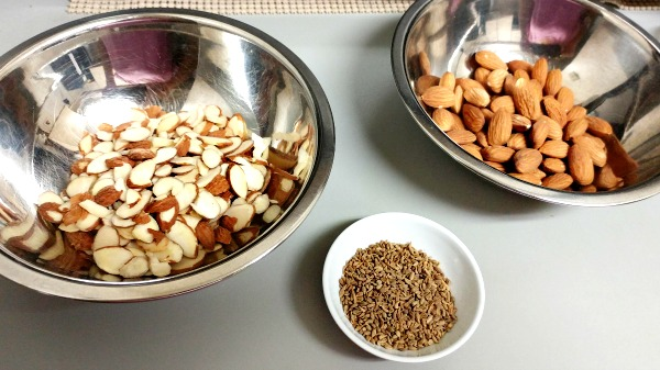 (From left) Sliced Almonds, Aniseeds, Whole almonds. Biscotti are an Italian creation.