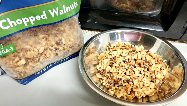 The chopped walnuts which can be bought already chopped.