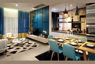 The dining area of Sunway Gandaria's Type A hall view looking into the kitchen.