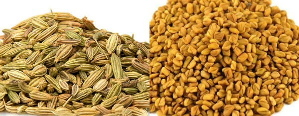 Spices in seed form. Fennel and Fenugreek seeds. Fruits and Vegetables in Malaysia