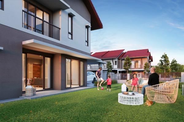 Corner Lot Family enjoying Terrace Houses. Rent To Own.