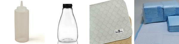 4 items Squeezable plastic kicap bottles and pet potty pads. Diaper Hacks Make Life Easier