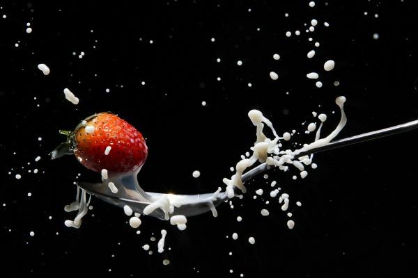Strawberry splashing in milk. 9 Things Nobody Tells You When You START Breastfeeding