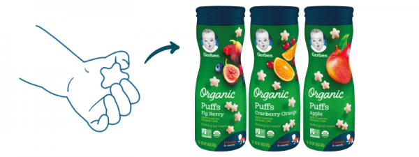 baby led weaning with Gerber Organic Puffs