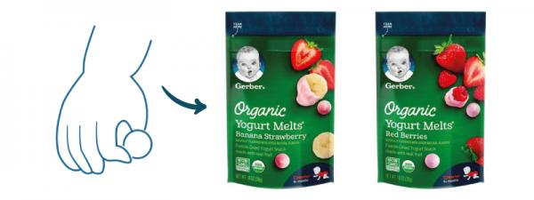 Enhance baby's grips with Gerber Organic Yogurt Melts
