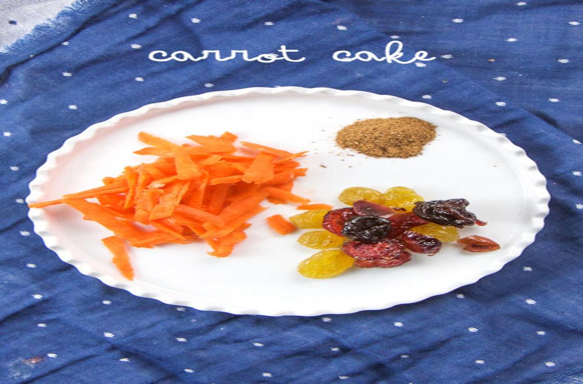 Shredded carrot, raisins, and cinnamon on a plate