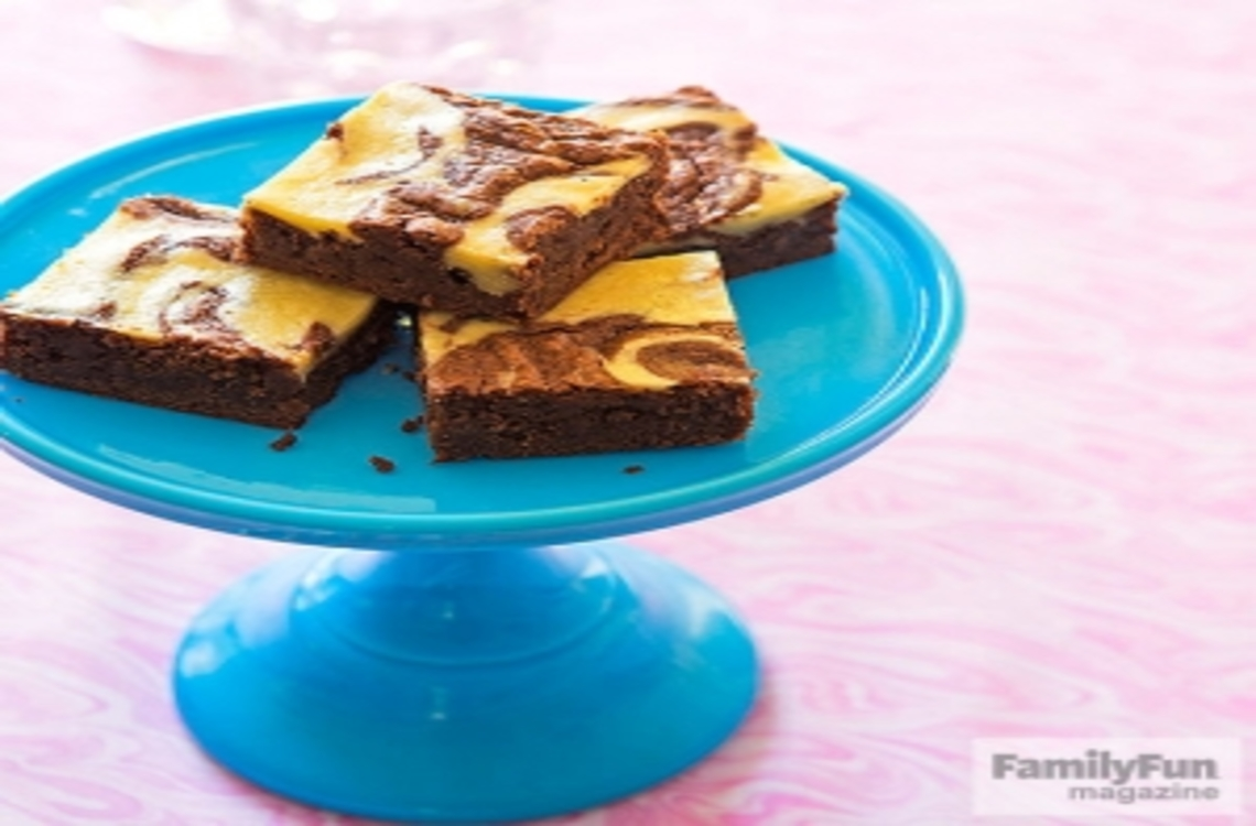 Brownies on a cake stand