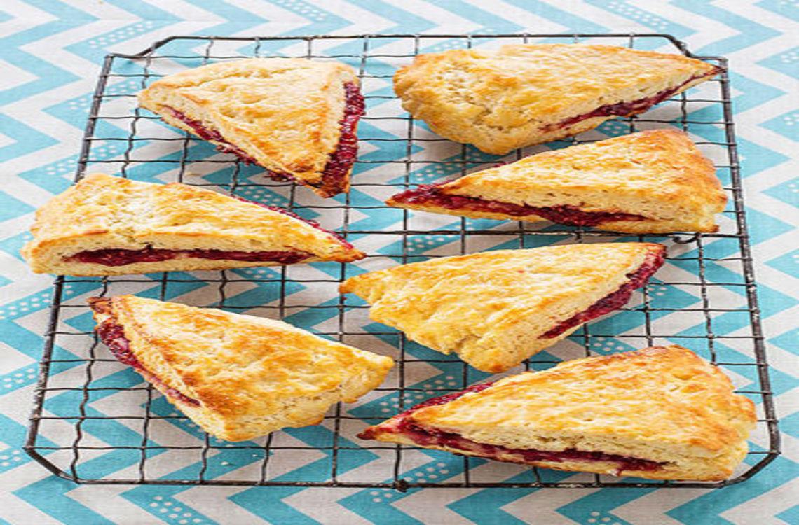 triangle shaped jam scones