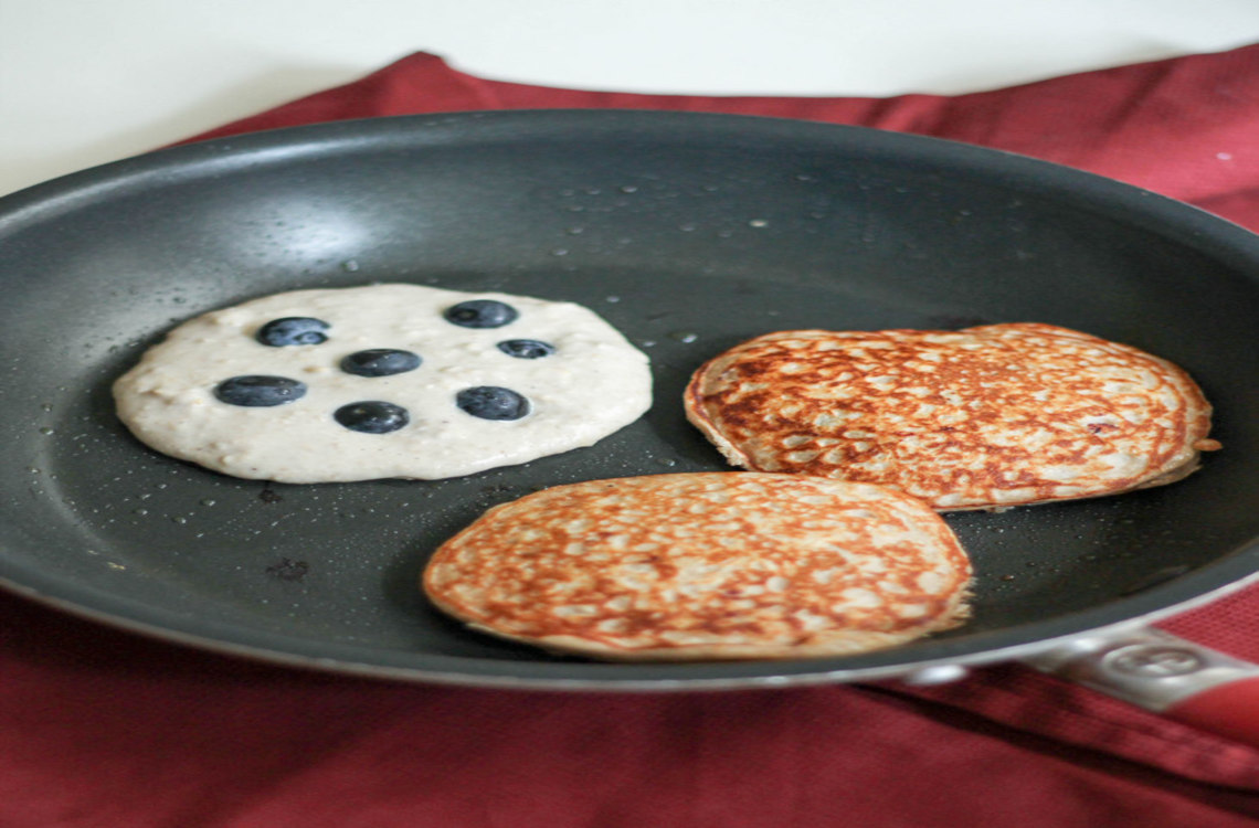 Bluberry pancakes on a skillet